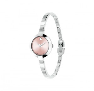 dong ho Movado Bela 0606596 Pink Dial Stainless Steel Women's Watch 25mm