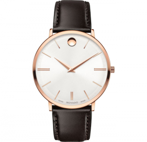 đồng hồ MOVADO SWISS ULTRA SLIM BROWN LEATHER WATCH 40MM