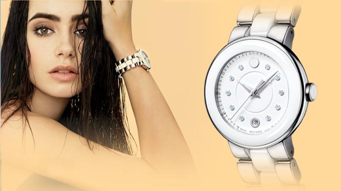 Lily Conllins và đồng hồ Movado Cerena