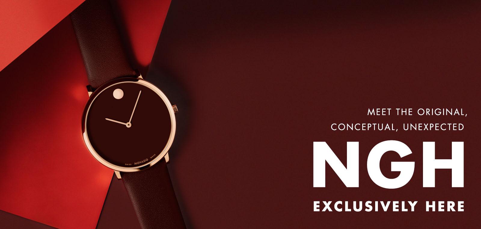 Đồng hồ Movado NGH màu rượu vang
