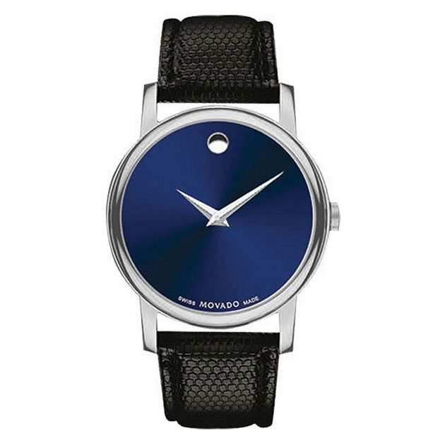 MOVADO MUSEUM BLUE DIAL BLACK WATCH 38MM