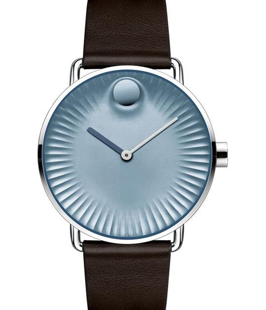 MOVADO EDGE BLUE DIAL BROWN WATCH 40MM